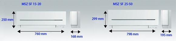 Размеры Кондиционера Mitsubishi Electric MSZ SF 15-20 и MSZ SF 25-50